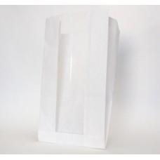 Пакет бумажный без рисунка 170*80*310мм+окно 80мм белый
