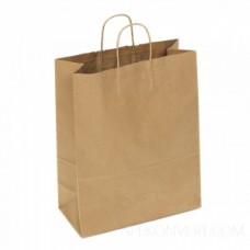 Пакет крафт с ручками плоскими и прямоугольный дном 320*200*370мм 70гр м2